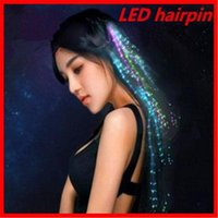 Wholesale Fiber Optic Hair Accessories - Chic optic hair for halloween christmas Fiber wire hairpin Luminous led Flash Hair hairpin party Night club festival hairpin ouc2004