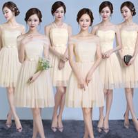 güzel şampanya balo elbiseleri toptan satış-2018 Yeni Kısa Şampanya Düğün Gelinlik Modelleri Kadınlar Balo Parti Kokteyl Zarif Abiye giyim Güzel Örgün Ünlü Elbiseleri