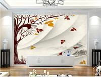 Wholesale wall painting trees photo for sale - Group buy butterfly d wallpaper custom photo luxury d wallpaper Hand painted tree modern minimalist background d wall paper for living rooms