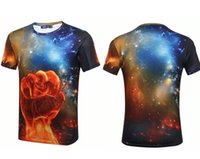 Wholesale Glow Tshirt - Galaxy Harajuku Summer Cloud Glow 3D t shirt Print Fire Fist Guita Power Eagle t-shirt Men Women tee Hiphop Casual Punk Short Sleeve tshirt