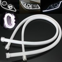 Wholesale 2Pcs V cm White LED Soft Tube Vehicle Daytime Running Lights DRL Waterproof angle eyes working lights
