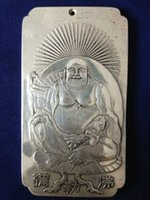 Wholesale Tibet Silver Bullion - Chinese Old tibetan Maitreya tibet Silver Bullion thanka amulet 136g
