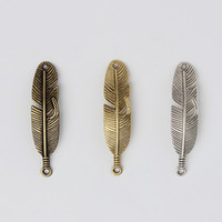 Wholesale Leaf Necklace Bronze - Wholesale- Free shiping 10pcs lot 11*45mm New Fashion Silver Gold Bronze Antique Handmade Leaves Charms Necklace Leaf DIY Pendant F1944