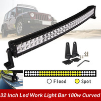 Wholesale Car Trailer Fog - 32 inch 180W Curved Car Led Work Light Bar Spot Flood Combo Beam LED Driving Fog Roof Lamp for Offroad SUV ATV Jeep Boat Trailer 4x4 Truck