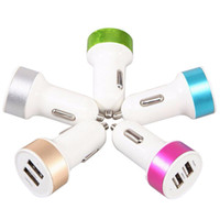 Wholesale One Piece Ipad - Wholesale- Cell Phone Car Charger Micro Auto Universal Dual USB Car Charger For iPad iPhone 5V 2.1A Mini Adapter One Piece Car Accessoires