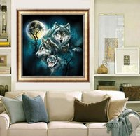 Wholesale Diy Picture Rooms - DIY Diamond Painting Cross Stitch Wolves Picture Mosaic Pictures for Living Room Diamond Embroidery Hand Made Diamond Paintings A1418