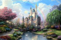 Wholesale Frame Original Oil Painting - 004 New Day at the Cinderella Castle Thomas Kinkade Oil Painting,HD Art Print Original Canvas Home Wall Deco,Multi size,Free Shipping,Framed