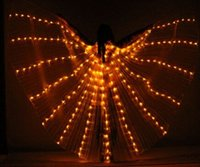 Wholesale Butterfly Luminous led programmable Isis Wings with Led lights For Stage Use belly dance accessoris with sticks for adults