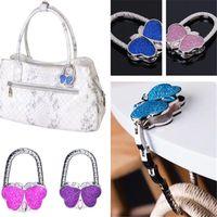 Wholesale handbag folding hanger hook resale online - butterfly folded Handbag Bag Hook Hanger Holder Fashion Crystal Rhinestone bag Hanger Hook Holder via DHL