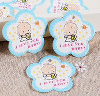 Wholesale Baby Shower Labels - Wholesale- 50pcs lot 3.8*3.8cm Flower Shaped Baby Shower Paper Tags Gift Tags Baby Shower Decorations Party Favor Labels Gift Wrapping