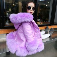 Wholesale Kids Fur Fox Jacket - Kids girl's PU leather patchwork fox faux fur collar jacket coat down parkas thicken coat princess winter outerwear fur coat