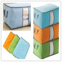 Wholesale Quilt Folds Pillow - Big Non Woven Quilt Storage Bag Portable Foldable Clothing Blanket Pillow Underbed Bedding Organizer Box Bamboo Charcoal Storage Bags