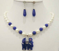 Wholesale Black Ceramic Elephant - Free Shipping ***Natural white rice pearl & blue jade elephant pendant necklace earrings Set