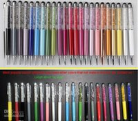 Wholesale Iphone 5s Swarovski - Colorful 2 in 1 Swarovski Crystal Capacitive Touch Stylus Ball Pen for ipad iPhone 6 6plus 5S 4S 5C HTC Samsung i9500 note 3