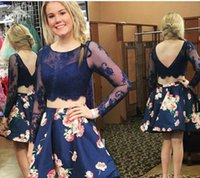 Wholesale Yellow Lace Fans - Charming Prom Dresses Sexy Lace Ball Dresses 2017 Pure Fanning Season Short Party Dress Long Sleeve homecoming Dress Plus Size