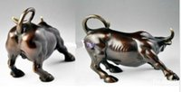 touros de wall street venda por atacado-5 polegadas: 28 peças ,, 8 polegadas: 8 peças ,, Big Wall Street Bronze Fierce Bull OX Estátua