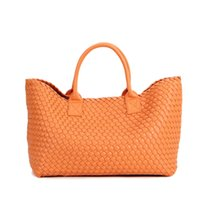 Wholesale Over Sized Shoulder Bags - over size woman bags 2017 bag handbag fashion handbags orange Knitted bag women casual shopping basket sac femme