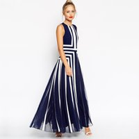 Wholesale Evening Long Dinner Dresses - Plus Size Bohemian Dress Women Mesh Striped Maxi Dress Chiffon Long Patchwork Tank Dress Summer Evening Party Dresses Dinner Sleeveless