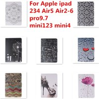 painting tablet pc - For Apple ipad Air5 Air2 pro9 mini123 mini4 Painted Tablet PC Cases Bags protector standing wallet cardholder case