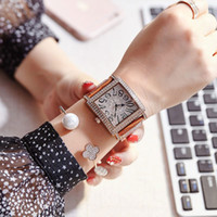 Wholesale Gem Stone Strap - High quality Ladies AAA Watch Famous Brand Luxury Women watches Dress Rhinestone Square Dial Leather Strap Quartz wristwatch For girls