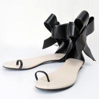 Wholesale Comfortable Black Sandals For Women - Black Flat Heel Women Sandals Flip Flops Bowknot Cover Heels Summer Flat Sandal For Women Adult Pu Shoes Comfortable Shoes