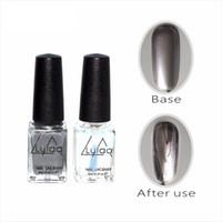 Wholesale designed nail tips - Wholesale- Lulla 2pc  6ml Behind Silver Mirror Effect Metal Nail Polish Varnish Base Coat Metallic Nails Art Tips DIY Manicure Design