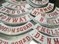 Wholesale embroidery trim patches for sale - Group buy MC Twills Embroidered Patches Jacket Iron On Patches Set Botton Rocker CALIFORNIA BELGIUM ENGLAND NOMADS AUSTRALIA ITALY