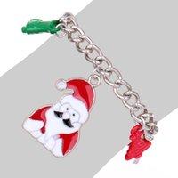 Wholesale Glass Beads Santa - Christmas Gift Santa Claus Charm Christmas trees Bracelet Unisex Bracelet glass bead bracelet & Bangles For Men and Women