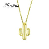 Wholesale Chain Metal Long - New Style Fashion Gold-Color Silver Color Long Chain With Cactus Shape Metal Pendant Necklace For Women