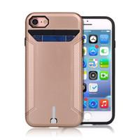 porta tarjetas galaxy s7 al por mayor-Para el iphone 7 Caso para Galaxy S6 S7 iPhone 5 5s SE 6 6s Galaxy S6 S7 metálico de silicio híbrido Wire Card Holder Cubierta Dibujo cubierta de la ranura de teléfono