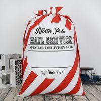 Wholesale vintage sack - Christmas Drawstring Bag 50*70cm Red Striped Canvas Santa Sack Rustic Vintage Gift Bag Candy Bags OOA3571