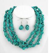 "Wholesale beaded circle earrings - Long 48""inch Natural turquoise irregular Beads jewelry Necklace earrings"