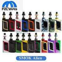 Wholesale Camouflage Kit - Authentic SMOK Alien 220W Kit New Colors Camouflage Army Green Splatter Rainbow Starter Kit Mod with 3ml TFV8 Baby Tank 100% Original