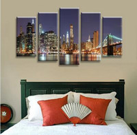 Wholesale City Bridge Paintings - 2017 without borders of the brooklyn bridge in New York City wall art oil painting canvas deformation of abstract painting pictures to decor