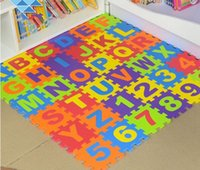 Wholesale Foam Exercise Floor Mats - 2017 New Cute Alphabet and Numbers Foam Puzzle Play Mat,NON-TOXIC 36 Piece Multi-Color Children Baby Play & Exercise Mat