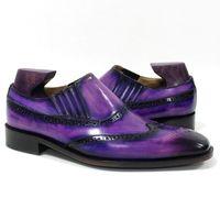 mocasines morados al por mayor-Hombres Zapatos de vestir Mocasines Zapato hecho a medida Zapato hecho a mano con punta cuadrada Respirable pátina púrpura Piel de becerro genuina LF-P09