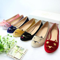 Wholesale ballet flats animal print - Free shipping classic co cute velvet embroidery cat genuine leather ballerinas ballet flats