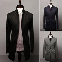 Wholesale Mens Blazer Leather Collar - Wholesale- New 2014 Winter Leather Double Collar Single Breasted Casual Medium-long Mens Blazers Slim fit Fashion Jackets Man Suits M-XXL