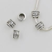 ingrosso perline in argento-Caldo ! 100pcs argento antico 5,5 millimetri foro in lega di zinco tubo distanziatori perline braccialetto di fascino adatto