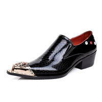 Wholesale Euro Dress - Men Business Dress Patent Leather Flat Heel Shoes Iron Head Pointed Toe Grain Leather Men Fashion Shoes Euro