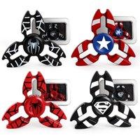 Wholesale Iron Spiderman - Metal Avengers Fidget Spinner Super Hero Tri-Spiner Captain America Spiderman Bat Iron Man Zinc Alloy EDS Metal Spinners Toy