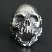 Wholesale Ghosts Band - 1pc Size 7-15 New Design Men Boys Huge Skull Ring 316L Stainless Steel Popular Fashion Biker Ghost Skull Ring