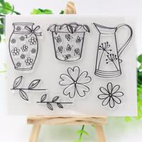 Wholesale Glass Crafts Vase - Wholesale- Vase Transparent Clear Silicone Rubber Stamp for DIY scrapbooking photo album Decorative craft