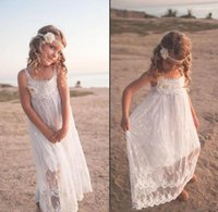 Wholesale Cheap Birthday Dresses For Teens - .2017 Fashion Cheap Flower Girls Dresses For Beach Wedding Lace Spaghetti Cute Backless Hand Made Flower Pageant Dresses For Teens