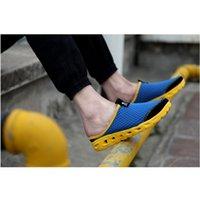 Wholesale Shoes Ultralight - Wholesale-2016 Summer Net Cloth Garden Shoes Breathable Sandals Tide Hole Hole Shoes Ultralight Slipper Beach Shoes