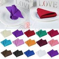Wholesale Handkerchief Wedding Favors - Wholesale- 30x30 cm Wedding Table Napkin Linen Napkin Polyester Handkerchief Cloth for Diner Party Xmas Supply Wedding Favors