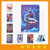 Wholesale Ipad Mini Cover Spiderman - Cartoon Superman Spiderman Batman PU Leather Case With Stand for ipad mini 4 mini123 ipad 234 Air 5 Air2 6