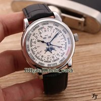 Wholesale watch world time for sale - Cheap Luxury Brand Complications World Time Moon Phase Automatic Multifunction White Dial Mens Watch Cheap New Watches With Gift Box