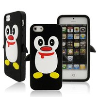 Wholesale Silicone Cover Penguin - For iPhone 5 5G 5S SE Adorable Black Penguin Silicone Protective Case Cover