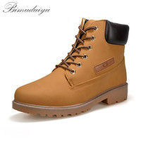Wholesale Trendy Lace Up Ankle Boots - Wholesale-BIMUDUIYU Trendy Cool Style Men's Ankle Thick Snow Boots PU Leather High Cut Male Casual Large Size 10.5 Riding Hiking Shoes